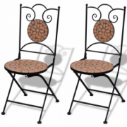 Set de 2 scaune din mozaic, culoare teracota