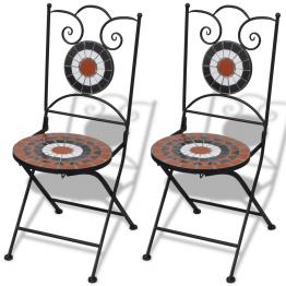 Set de 2 scaune din mozaic, culoare teracota si alb