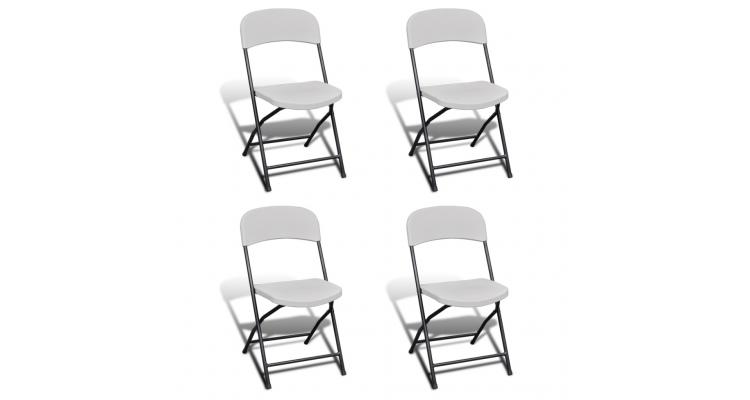Set de 4 scaune pliabile pentru gradina din HDPE, alb