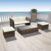 Set lounge cu canapea de exterior, noua piese, poliratan, maro