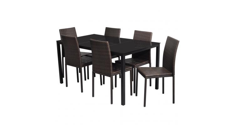 Set masa + 6 scaune din ratan, Maro