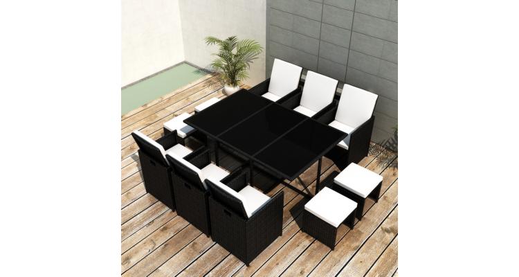 Set masa din poliratan 6 scaune 4 taburete negru