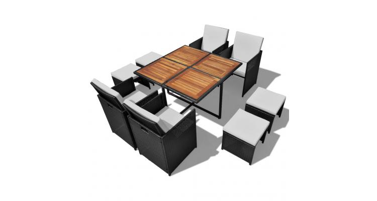 Set masa exterior din poliratan si lemn salcam, 21 piese, Negru