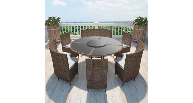 Set masa rotunda si scaune din poliratan 12 persoane, maro