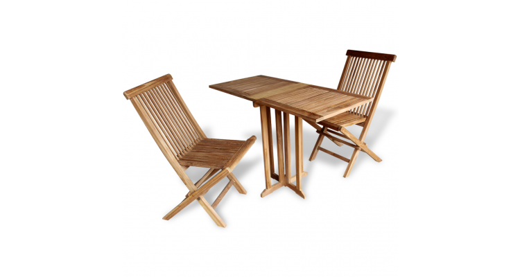 Set masa si scaune de balcon din lemn de tec, trei piese
