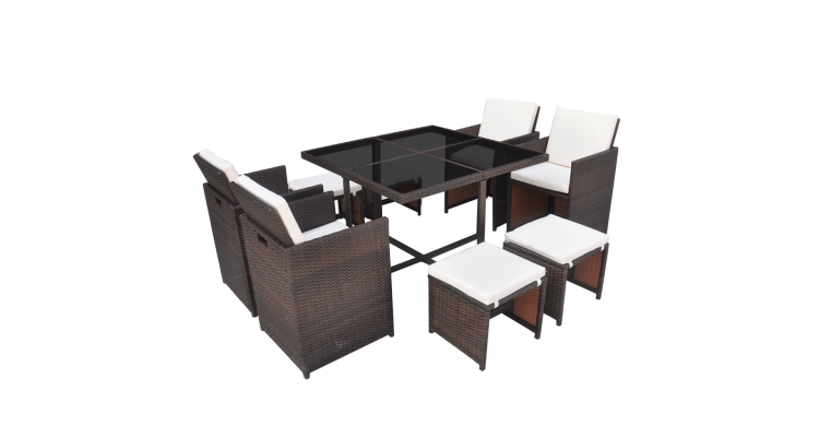 Set masa si scaune de exterior din poliratan, 21 piese, Maro