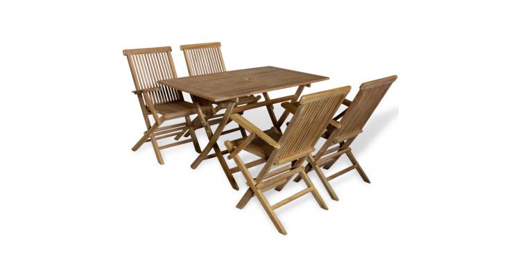 Set masa si scaune de exterior, lemn de tec, 5 piese