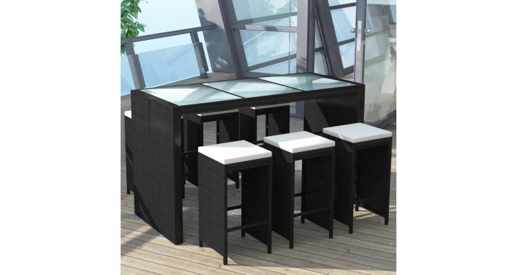 Set mobilier bar de gradina din poliratan 13 piese, Negru