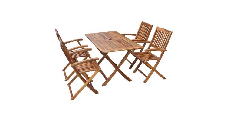 Set mobilier de exterior din lemn de acacia, cinci piese