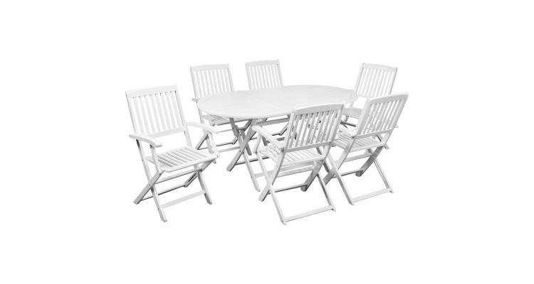 Set mobilier de exterior din lemn de salcam, sapte piese, Alb
