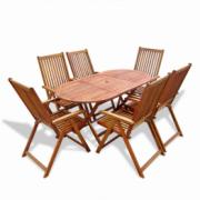 Set mobilier de exterior din lemn, sapte piese