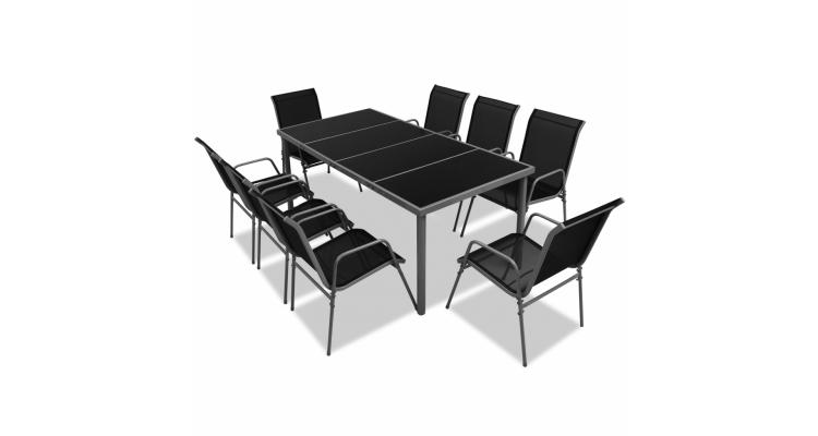 Set mobilier de exterior din noua piese, negru