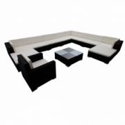 Set mobilier de exterior din poliratan 35 elemente, Negru