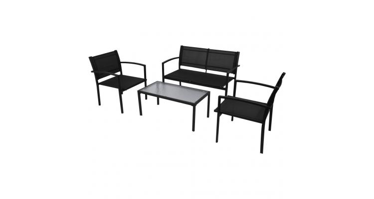 Set mobilier de gradina cu banca, 4 piese, negru imagine 2021 kivi.ro