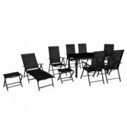 Set mobilier de gradina din aluminiu, negru, 10 piese