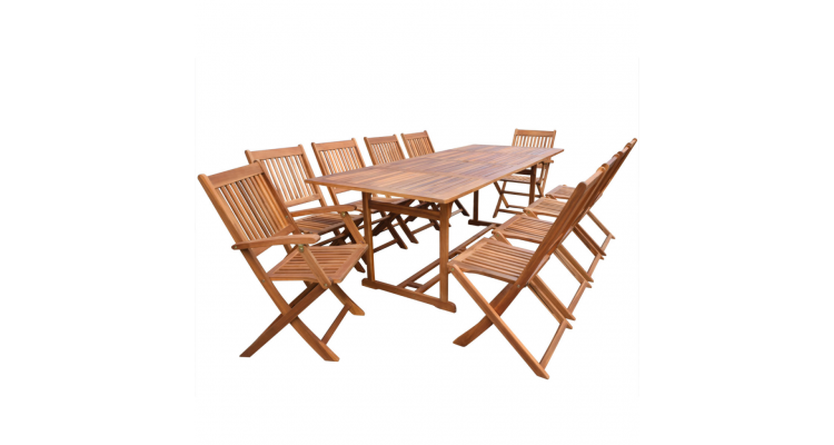 Set mobilier de gradina din lemn de acacia 11 piese 220 cm
