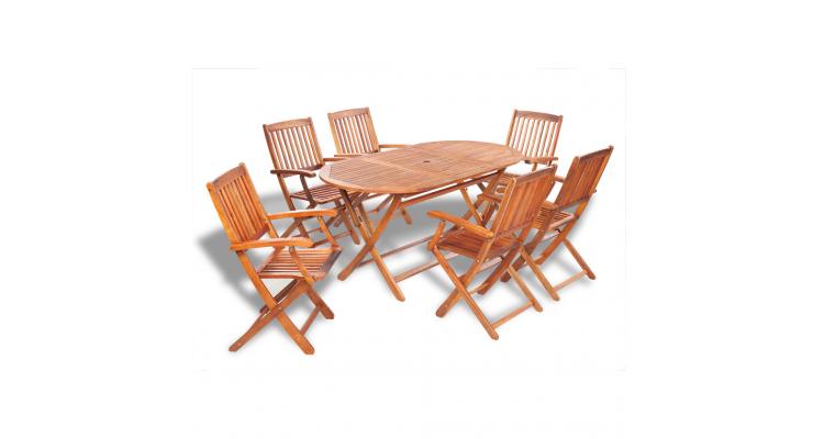 Set mobilier de gradina din lemn de salcam 7 piese