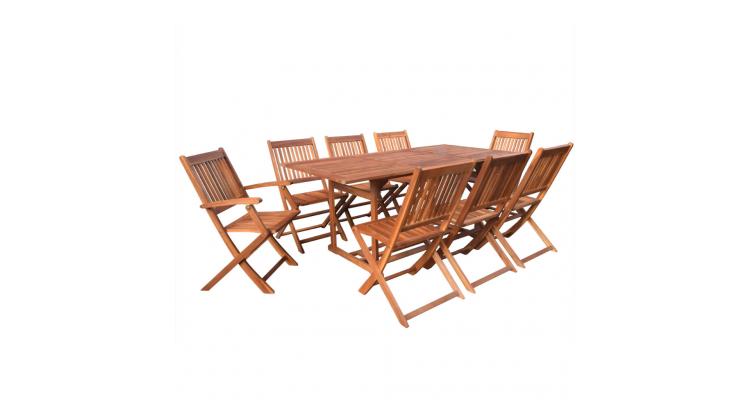 Set mobilier de gradina din lemn de salcam 9 piese 180 cm