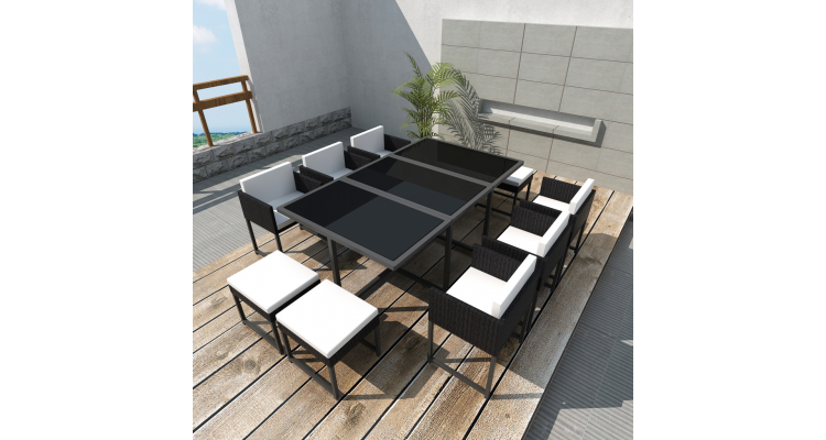 Set mobilier de gradina din poliratan 10 persoane Negru