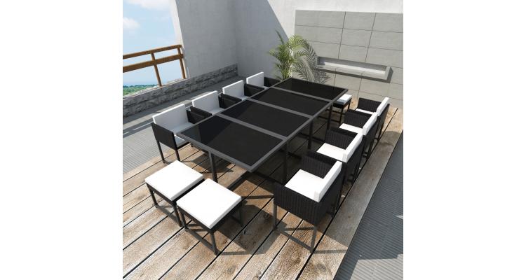 Set mobilier de gradina din poliratan 12 persoane Negru