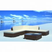 Set mobilier de gradina din poliratan 15 piese Maro