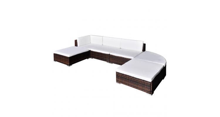 Set mobilier de gradina din poliratan 16 piese Maro