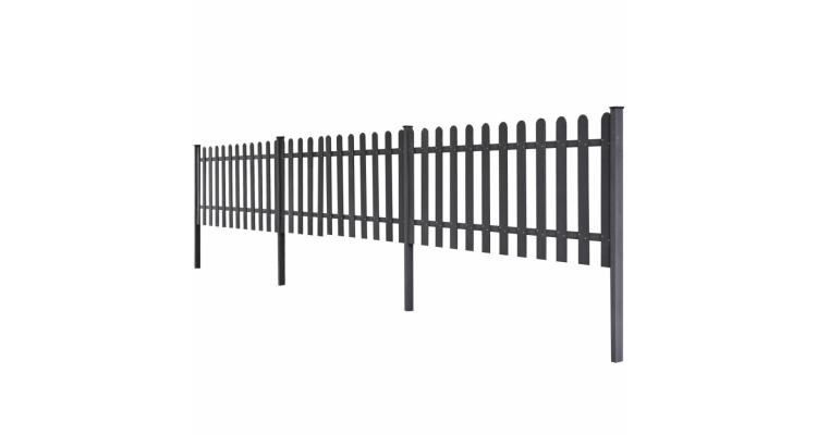 Gard cu tarus 3 buc. 6 m lungime 60 cm inaltime, Gri