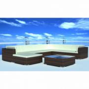 Set mobilier de gradina din poliratan 24 piese Maro