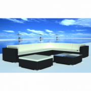 Set mobilier de gradina din poliratan 24 piese Negru