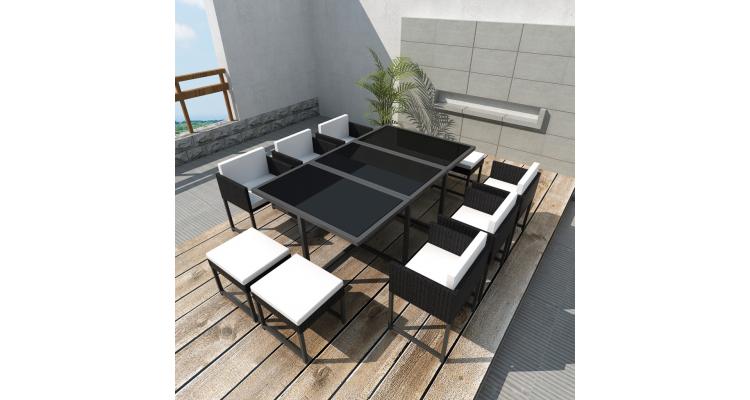 Set mobilier de gradina din poliratan format din 27 piese, Negru