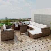 Set mobilier de gradina din poliratan format din 28 piese, Maro