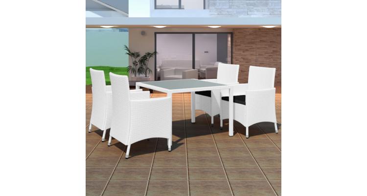 Set mobilier de gradina din poliratan, 9 piese, crem alb