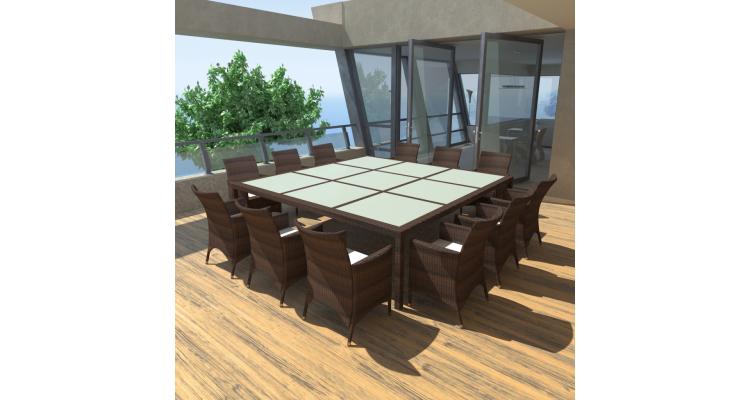 Set mobilier de gradina din poliratan, Maro