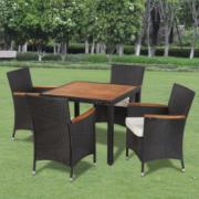Set mobilier de gradina din ratan cu 4 scaune si masa cu blat de lemn