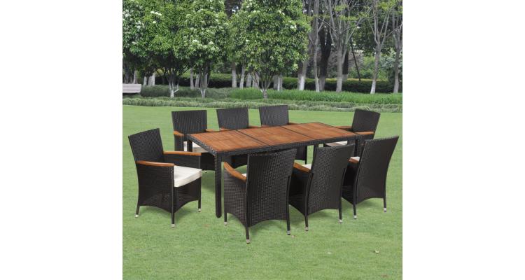Set mobilier de gradina din ratan cu 8 scaune si masa cu blat de lemn