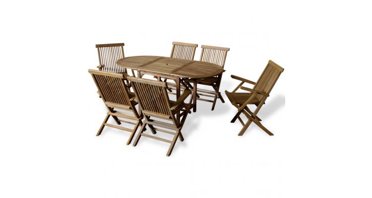 Set mobilier exterior cu masa extensibila din tec, patru piese