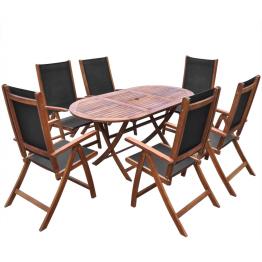 Set mobilier exterior din lemn de acacia, pliabil, sapte piese