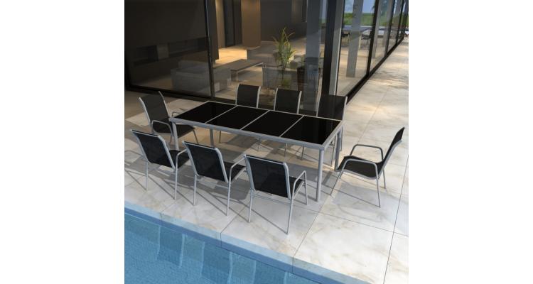 Set mobilier exterior masa si 8 scaune textilena
