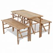 Set mobilier exterior pliabil din lemn de bambus 2 banci+1 masa