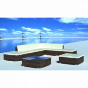 Set mobilier gradina din poliratan 20 buc. Maro