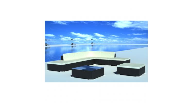Set mobilier gradina din poliratan 20 buc. Negru
