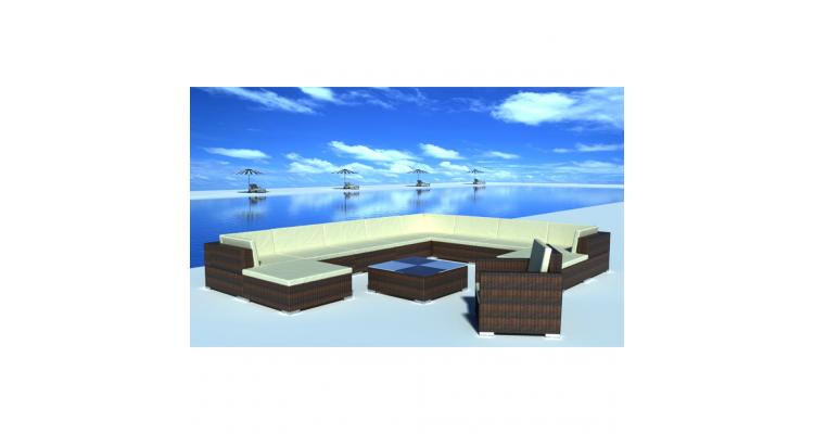 Set mobilier gradina din poliratan 35 buc. Maro imagine 2021 kivi.ro