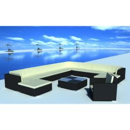 Set mobilier gradina din poliratan 35 buc. Negru