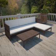 Set mobilier gradina din poliratan canapea cu 3 locuri Maro