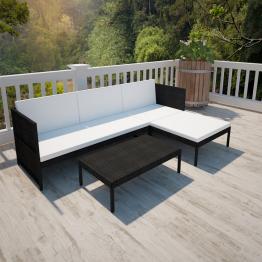 Set mobilier gradina din poliratan canapea cu 3 locuri Negru