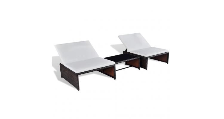 Set mobilier gradina din poliratan cu spatar reglabil 2 locuri Maro
