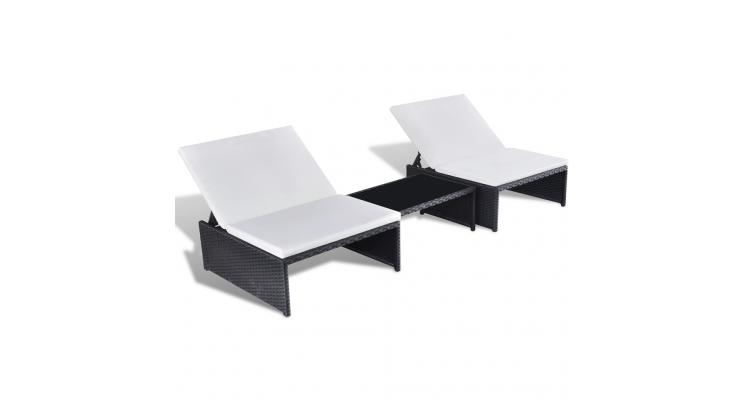 Set mobilier gradina din poliratan cu spatar reglabil 2 locuri Negru