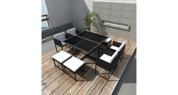 Set mobilier gradina din poliratan pentru 8 persoane Negru