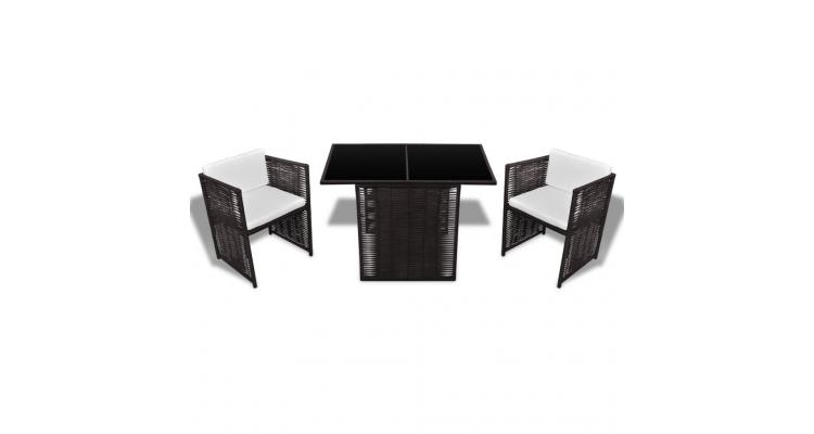 Set mobilier gradina din poliratan, masa si 2 scaune, Maro