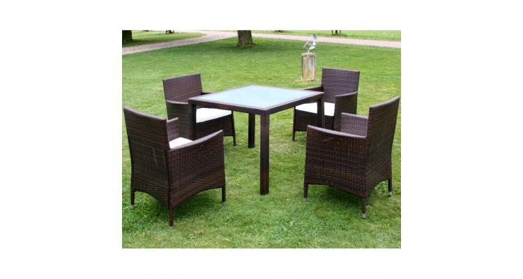 Set mobilier gradina din poliratan, masa si 4 scaune, Maro